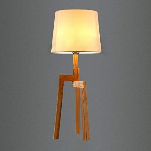 CAIJINJIN Lámparas de mesa Lámparas de mesa, personalidad simple Estudio Retro Nostalgia de madera original del trípode de la lámpara, tela de la lámpara, la personalidad creativa sala de estar minima