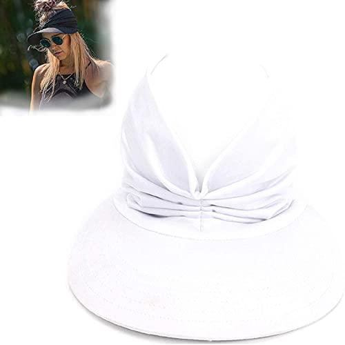 HengYuan Sombrero para el Sol Superior Hueco elástico Anti-Ultravioleta, Sombrero de Playa con Visera sólida de Verano para Mujer, Gorra con Pico de Cola de Caballo (Blanco)