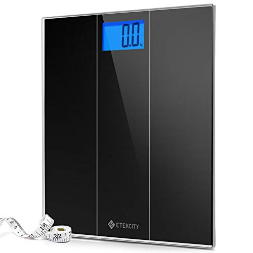 Etekcity Digital Body Weight Bathroom Scale with StepOn Technology 400 Pounds Body Tape Measure Included Elegant Black 12 inch x 12 inch upgrded Platform