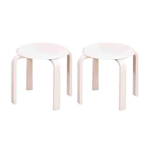 Kruk massief hout kleine bank stapelbaar ronde kruk stoel eettafel kruk wisselschoen bank woonkamer salontafel kruk, verpakking 2 lichte meubels (kleur: houtkleur) wit