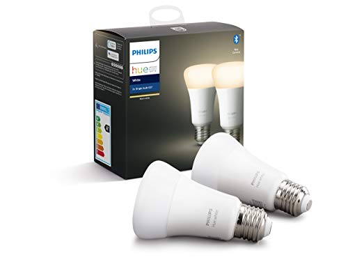 Philips Lighting Hue White, Lampadine LED Connesse, Attacco E27, Dimmerabile, Luce Bianca Calda, 2 Pezzi