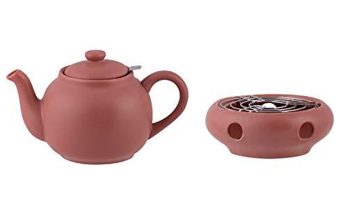 Plint Teekanne m. Stövchen u. Tee-Sieb Terracotta-rosa Set 1,5L Steingut Keramik