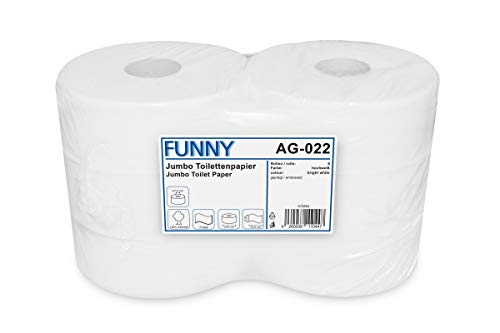 Funny Jumbo - Toilettenpapier 2 lagig hochweiß, Durchmesser circa 25 cm, 1er Pack (1 x 6 Stück)
