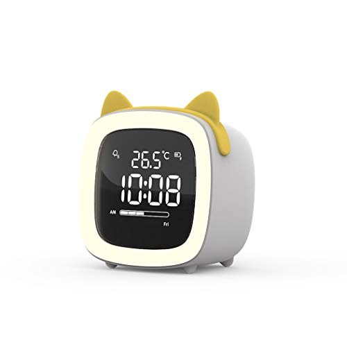 S.W.H Cartoon Cat Ears Design Small LED Digital Loud Alarm Clock with USB Port for Charging Adjustable Volume and Brightness Simple Kid Bedside Clock
