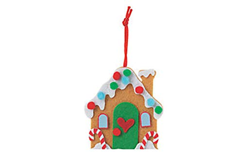 PWS Sales Gingerbread House Christmas Felt Ornament Kits-Makes 12-Crafts for Kids