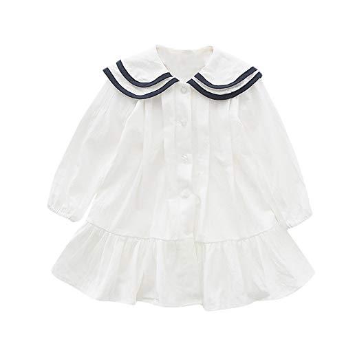 Gyratedream lente herfst casual mode baby meisjes effen lange mouwen hemd jurk kinderkleding blousejurk Small wit