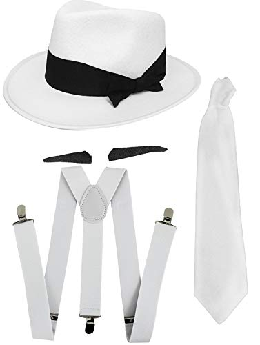 GANGSTER FANCY DRESS ACCESSORY SET WHITE TIE + WHITE BRACES + BLACK OR WHITE TRILBY HAT 1920'S MOB GANGSTER MEN AL CAPONE (WHITE HAT)