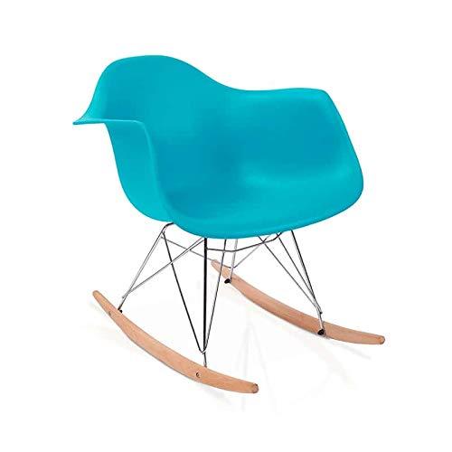 duehome Rocker - Silla Mecedora, Color Turquesa y Madera Haya, sillas balancin, Silla diseño nórdico, Medidas: 69,5 cm Alto x 63 cm Ancho x 65,5 cm Fondo