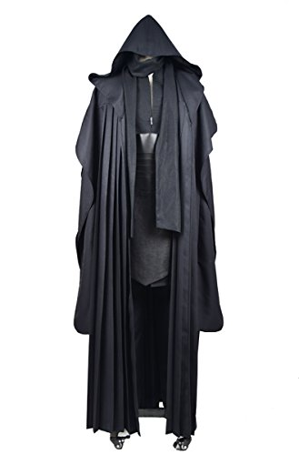 CosDaddy Mens Cosplay Costume Tunic Robe Uniform Cosplay Costume Linen Version (S-Men) Black