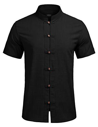 COOFANDY Leinenhemd Herren Hemd Freizeithemd Herren Kurzarm Sommerhemd Herren Regular Fit Sommer Shirt