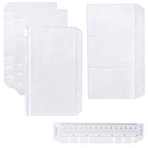 Moterm 2 PCs Page Lifter(Transparent Separator), 1 PC Bookmark Ruler, 1 PC PVC Storage Card Holder and 1 PC Zipper Bag for Personal Planner
