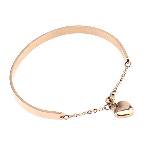OTOTEC Rose goud roestvrij staal liefde hart bedelarmband voor vrouwen meisjes