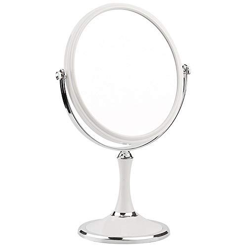 ZHMIRROR Miroir grossissant de maquillage rond sur pied, double face Vanity, pivotant à 360°, miroir de princesse européenne