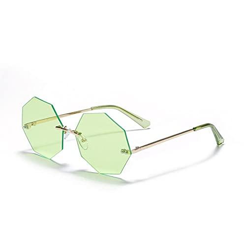 Moda Punk sin llanta Gafas de Sol Mujeres pequeñas Gafas de Sol Tonos de Lujo de Gafas de Sol de Metal UV400 Gafas (Color : 9, Size : F)