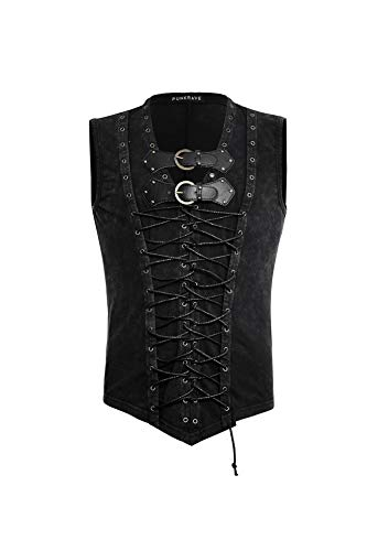 Punk Rave Men's Gothic Cotton Tank Tops Leather Belt Sleeveless Front Lace Up Vest Bandage Casual Shirt Black