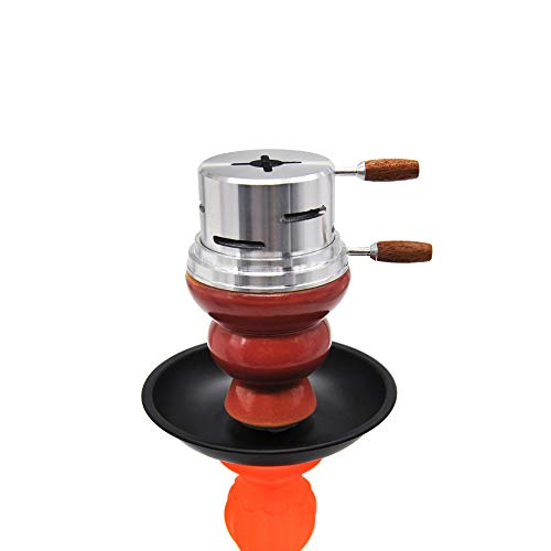 PCWS Shisha Smokebox Kopf Aufsatz mit Wärmeregler in Box | Nur eine 1 Kohle | Silber | Aluminiumlegierung Kamin Hitze Shishaofen Brenner Doppelgriff