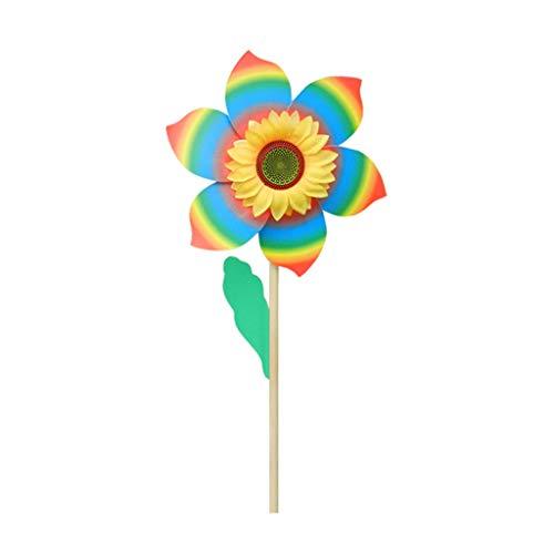 Sayletre Viento Spinner molinillos de Viento del Lunar del Arco Iris de Colores de Madera del Molino de Viento del jardín de decoración de la Yarda Juguetes para niños
