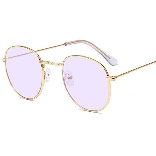 WQZYY&ASDCD Gafas de Sol Gafas De Sol Redondas De Montura Pequeña para Mujeres/Hombres Gafas De Sol De Espejo De Aleación Retro-Gold_Ocean_Purple