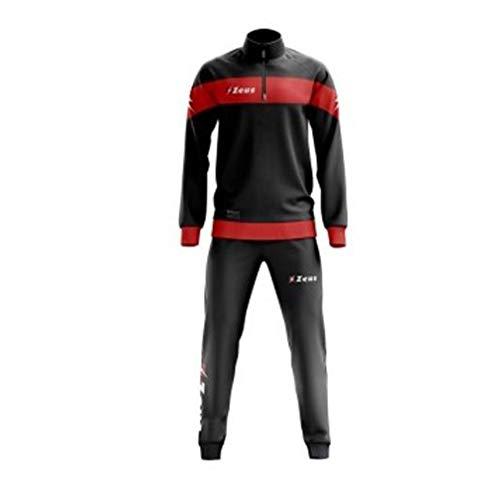 Tenue de course Marte Zeus pour homme, avec maillot à manche longue et pantalon vert fluo et noir, Femme Homme Enfant Mixte, noir/rouge, xs