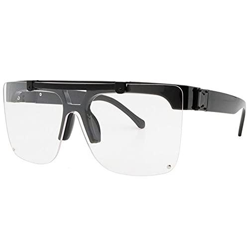 Gafas De Sol Giradas sobre Gafas De Sol De Una Pieza Moda Gafas De Esquí Mareas Gafas De Sol Deporte Gafas De Sol Retro A Prueba De Viento Hombres Y Mujeres-Transparente