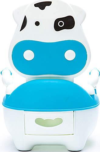 Innerternet Baby Vasino per Bimbi Bimbo Sedia Vasino Animali Con Coperchio Mucca, 1-5 Anni (Blu, 36x29x16cm)