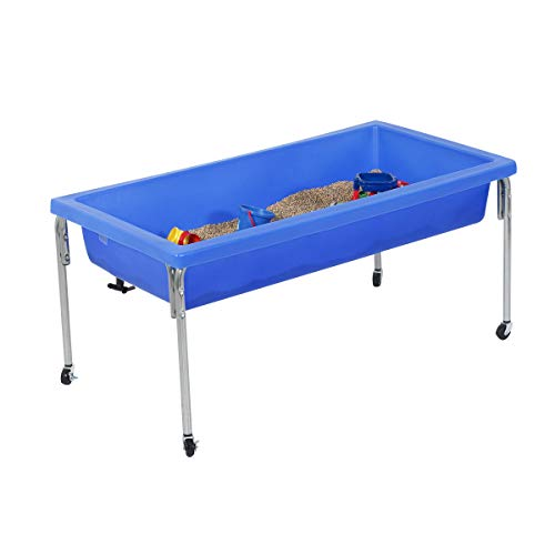 "Children's Factory Extra Large Activity Table and Lid Set, 50"" by 26"" by 24"", Blue – Fill with Water, Sand, Beads and More – Lid for Safe, Clean Storage – Made of Durable Plastic – Indoor/Outdoor Use (1150-24)"