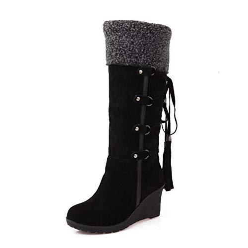 GAO-bo Botas de nieve para mujer, tamaño grande, zapatos de mujer con borla con cordones y espalda helada, botas altas de manga y tacón pendiente (color: A, tamaño: 35)