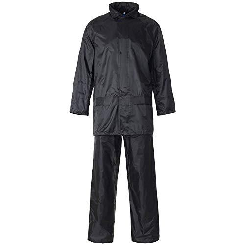 Trajes de lluvia unisex impermeables de alta visibilidad y estilo liso, PVC, ligeros, de alta visibilidad, 2 piezas completos Negro Liso XXXXL