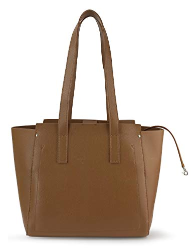 Women Tote Multiple Pockets Organized Shoulder Handbag for Work and Weekend, Office Lady Leather Bag (Brown)
