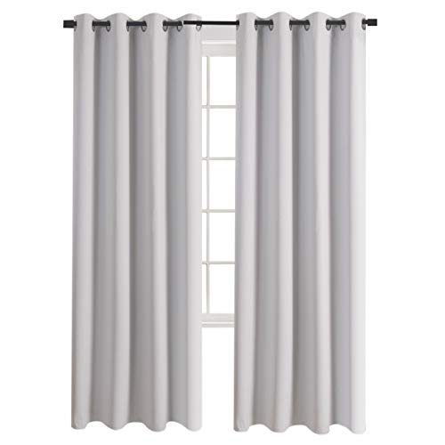 Aquazolax Grommet Blackout Window Curtain Panels Blackout Curtains 52 by 63 Inch Room Darkening Draperies Readymade for Bedroom, 2 Panels, Greyish White