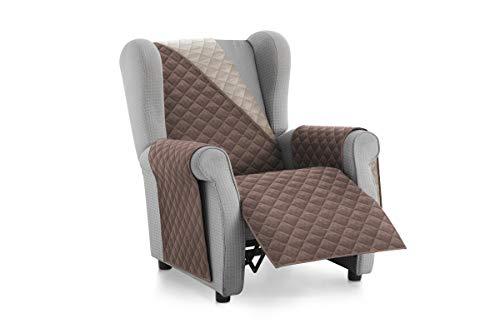 Textil-home Sesselschoner Relax MALU, 1 Sitzer - Reversibel gepolsterter Sofaschutz. Farbe Braun