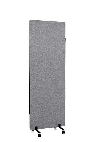 hjh OFFICE Mobile Akustik Trennwand einzeln 177 x 60 cm FLEXMIUT Stoff Dunkelgrau Raumteiler Mittelpanel mit Rollen & Gleiter 891007