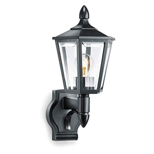Steinel Außenleuchte L 15 schwarz, klassische Außenwandleuchte, Laterne, max. 60 W, E27, Außenlampe ohne Bewegungsmelder