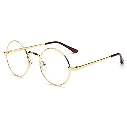 VWH Retro Runde Brille Mit Fensterglas Damen Herren Brillenfassung (golden)