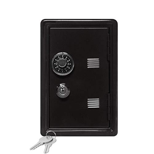 DDyna Caja de Seguro para el hogar Mini Caja de Metal Segura Creativa Hucha Clave Seguro gabinete decoración de Escritorio - Negro