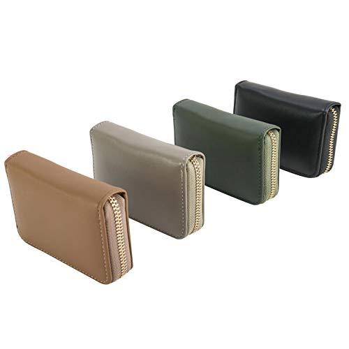 ラウンドファスナー カードケース シンプル 無地 スクエア型 蛇腹式 大容量 カード11枚収納(メンズ レディース)落ち着いた色合いで性別や年代を選ばないデザイン(グリーン)