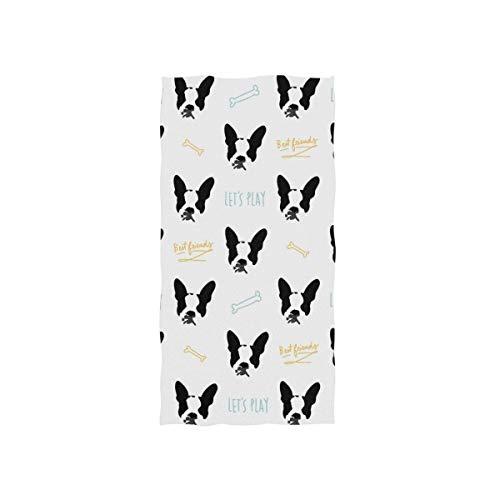 Bert-Collins Towel Toalla de Playa Decorativa Divertida para Perros Boston Terrier para baño y Fitness, 80x130cm
