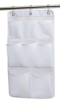 KIMBORA Mesh Shower Organizer Hanging Bathroom Caddy 8 Pockets Hang Curtain Rod with 3 Rings