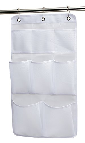 Great Features Of KIMBORA Mesh Shower Organizer Hanging Bathroom Caddy 8 Pockets Hang Curtain Rod wi...