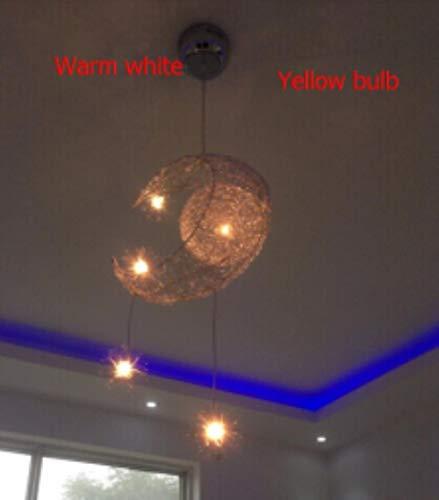 Nueva lámpara de techo moderna sala de niños novedad luz pendiente para el hogar estrella de la luna luz de mimbre comedor accesorio de iluminación de decoración, Luna caliente blanco # 2184