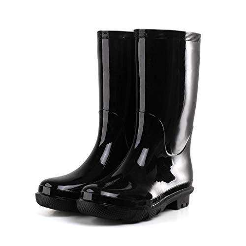 Botas de lluvia YQQMC para hombre de tubo medio antideslizante impermeable botas de lluvia gruesas resistentes al desgaste cuatro estaciones botas de lluvia en el jardín (color: negro, tamaño: 43)