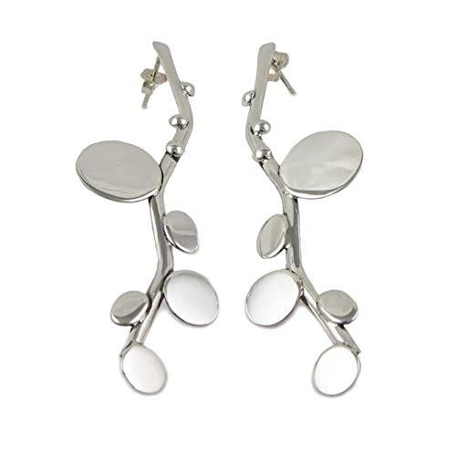 Long 925 Sterling Silver Stick and Circle Drop Earrings