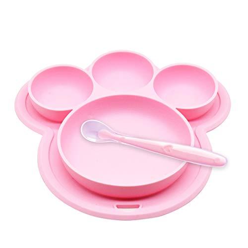 Yuccer Platos de Silicona para Bebes Niños Antideslizantes Cubiertos Bebe Cuchara Sin BPA (Rosa)