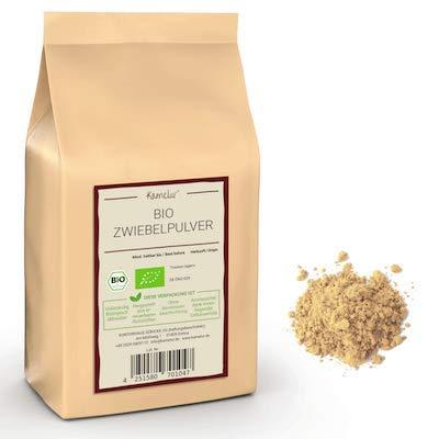 500g di cipolla BIO essiccata e macinata - polvere di cipolla BIO di alta qualità, senza additivi - in imballaggi biodegradabili