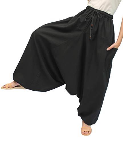 ChiangmaiThaiShop - Pantalones de harén de yoga (100% algodón) - Negro - S/XL Cintura 26/42'