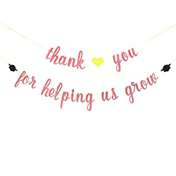 Rose Gold Glitter Thank You for Helping Us Grow Banner - Graduation Banner Thank You Teacher Banner Graduation Party Decorations