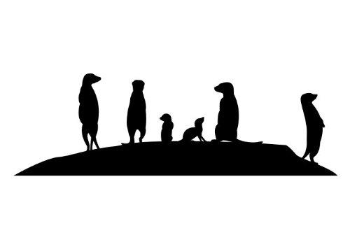 Wandtattooladen Wandtattoo - Erdmännchen Familie Größe:50x16cm Farbe: schwarz