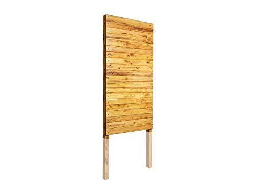 Sichtschutz / Sichtschutzzaun - Model Fassadenbretter Nut und Feder, einbaufertige Module mit integrierten Pfosten, aus Robinienholz (Robinie, Holz) - Sonderbreite 40 cm, einseitig beplankt
