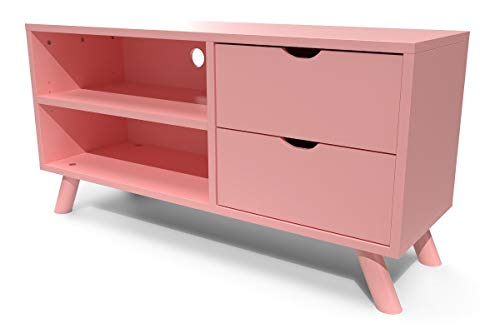 ABC MEUBLES - Meuble TV Scandinave Viking Bois - VIKINGTV - Rose Pastel