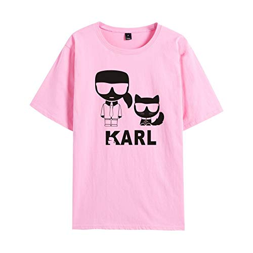 T-Shirt Karl Lagerfeld Gedruckt T Unterhemd Sportbekleidung Fitness Tragen Unisex Einfach Beiläufig/Rosa/XXS